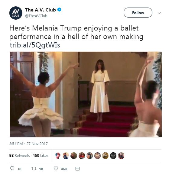 melania trump watching ballerinas