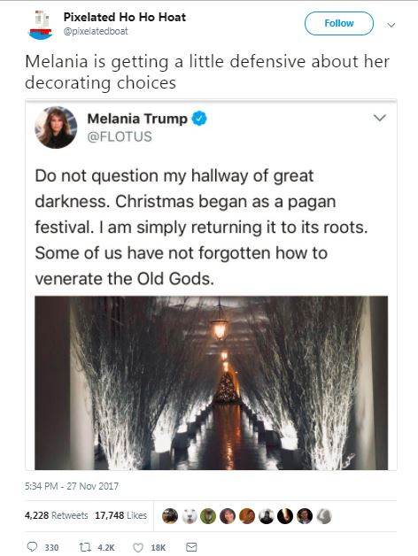 tweet about melania christmas decor with stick hallway