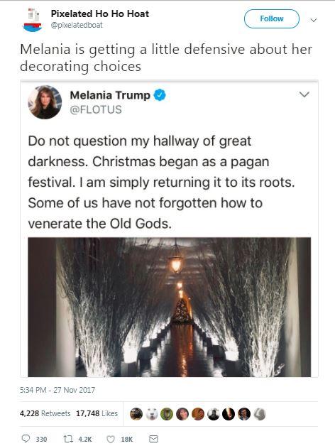 tweet about melania christmas decor with stick hallway