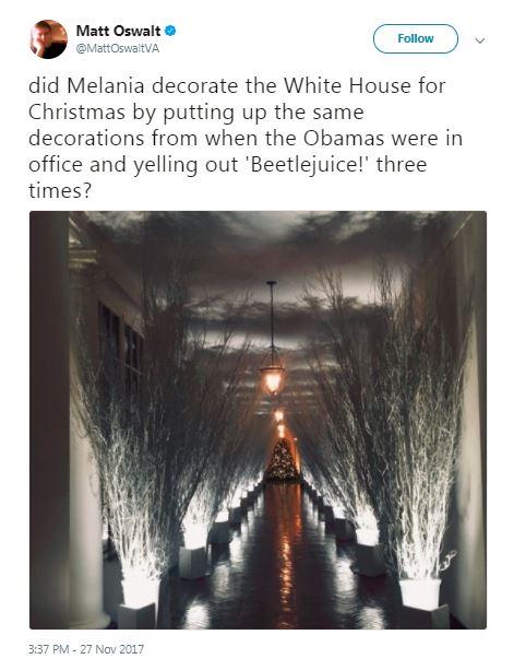 melania christmas hallway sticks with beetlejuice