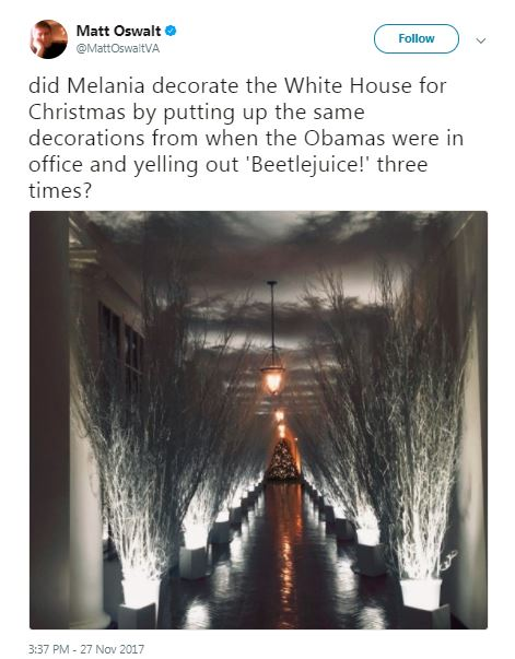 melania christmas hallway sticks with beetlejuice