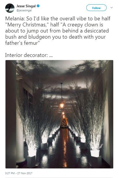 tweet with melania trump stick hallway