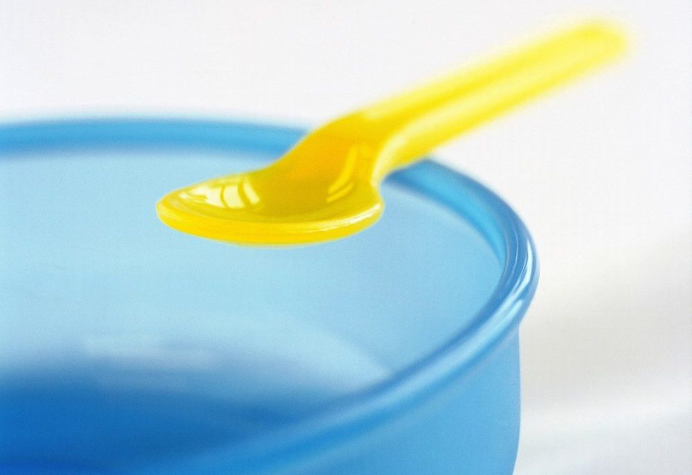 plastic bowl and spoon