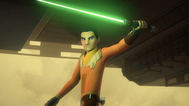 An animated picture of ezra bridger holding a lightsaber