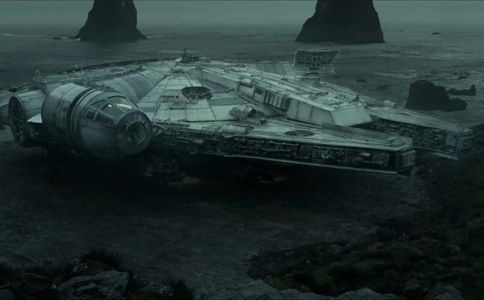 The Millennium Falcon in Star Wars: The Last Jedi