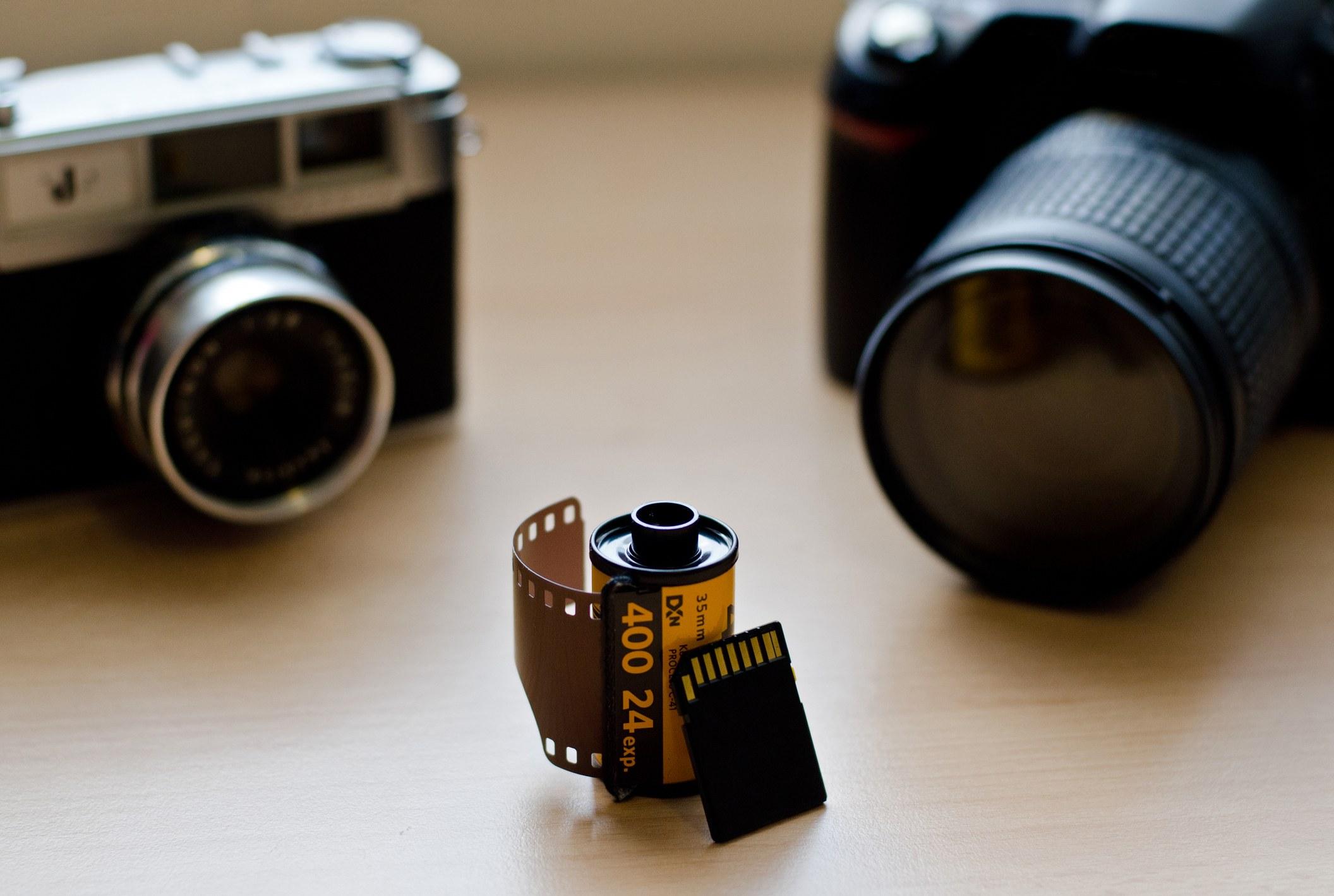 Film sitting between a digital and film camera