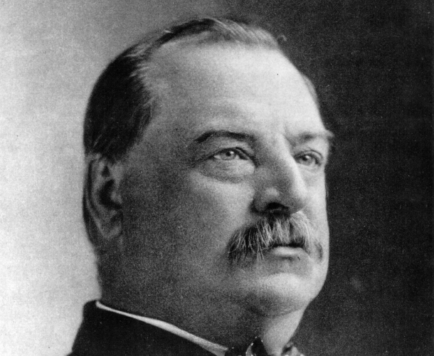 Grover Cleveland in a black and white portrait.