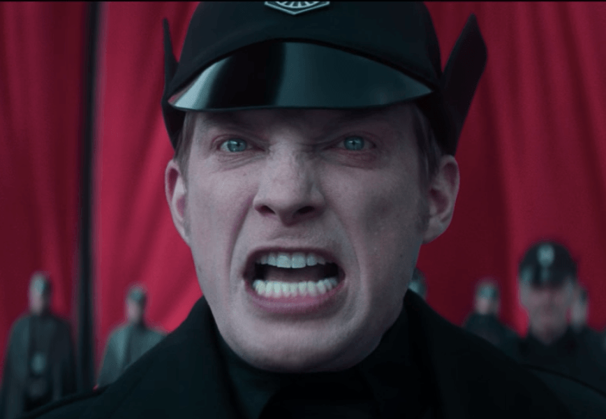 General Hux stares ahead with an angry look in Star Wars: The Force Awakens