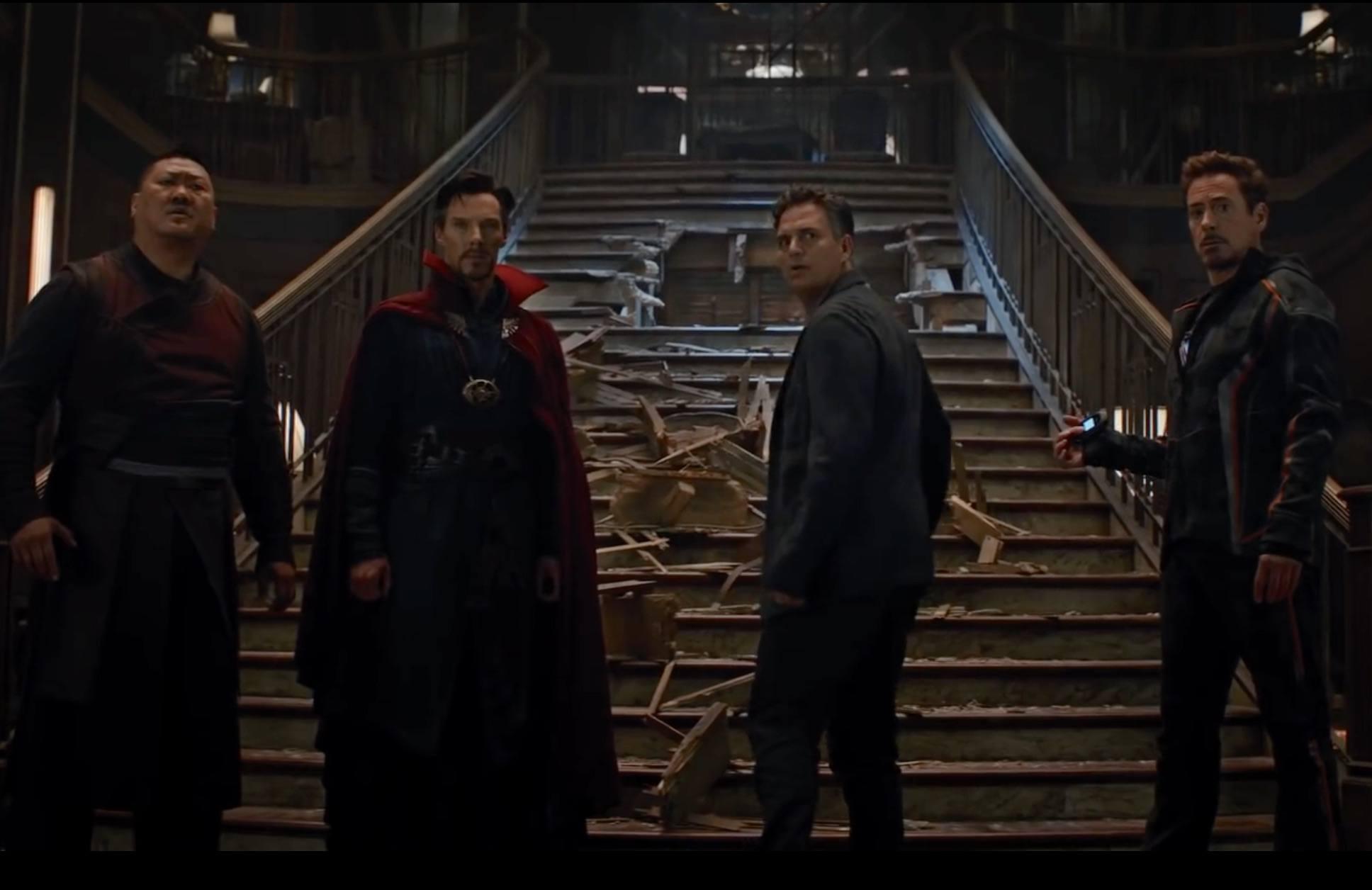 Wong, Dr. Strange, Bruce Banner, and Tony Stark