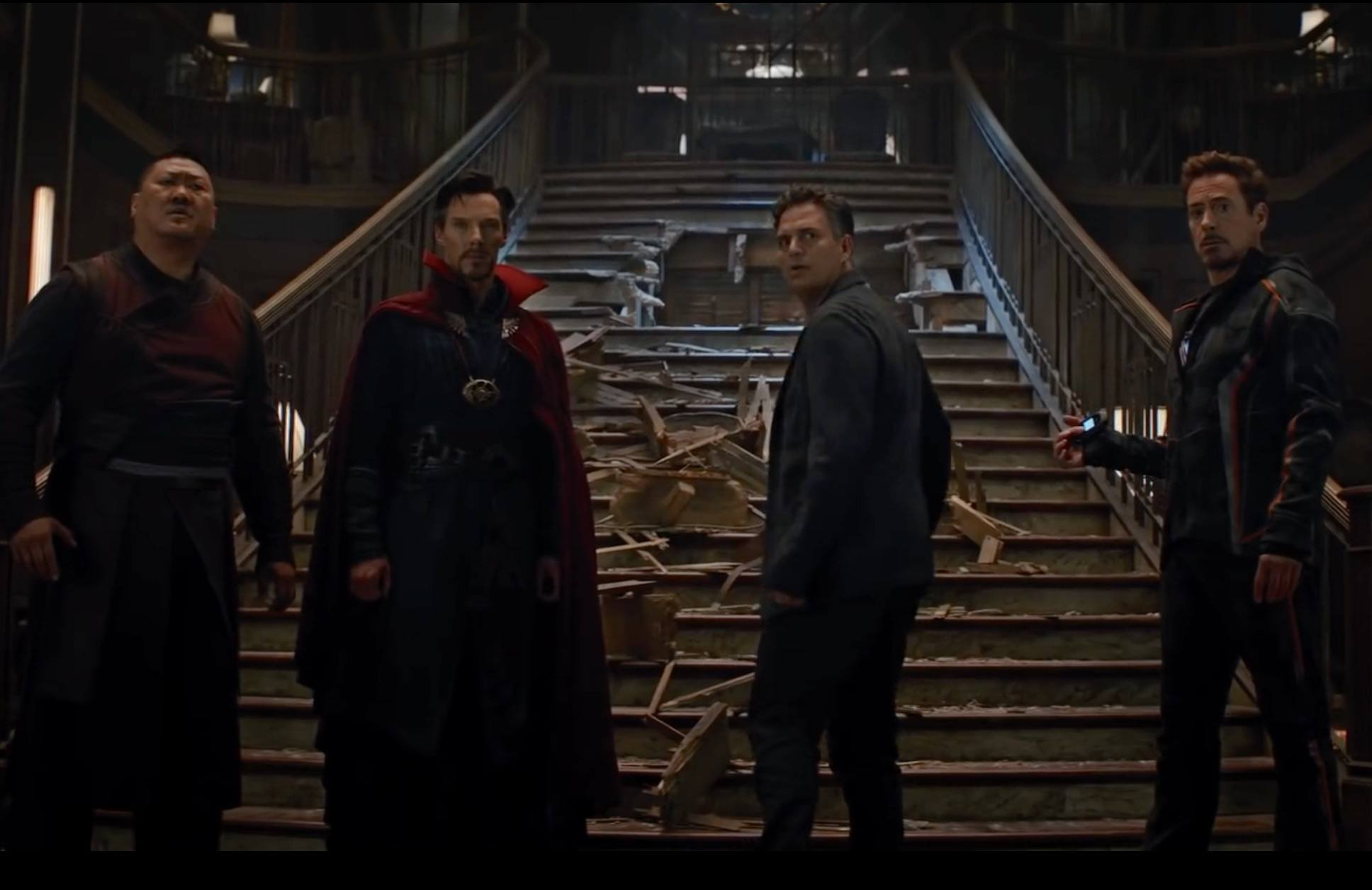 Wong, Dr. Strange, Bruce Banner and Tony Stark