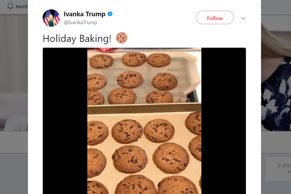 """A tweet featuring a video of Ivanka Trump's kids baking and singing """"C Is For Cookie"""""""