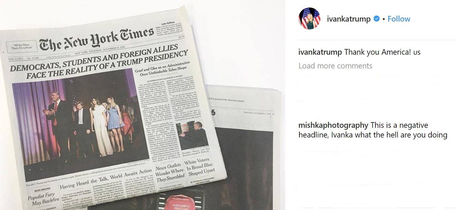 An Instagram post of a newspaper