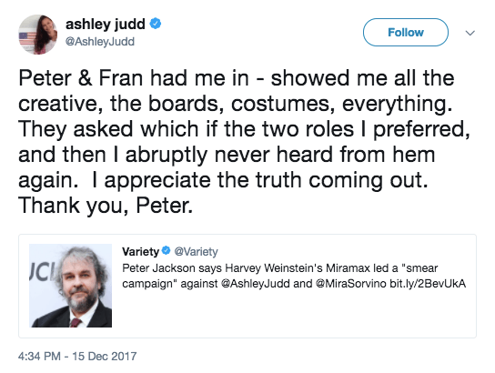 Ashley Judd says she was almost cast in The Lord of the Rings