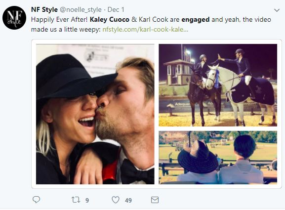 A tweet about Kaley Cuoco and Karl Cook
