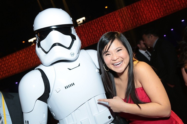 Kelly Marie Tran poses with a Stormtrooper at the after party for the world premiere of Lucasfilm's Star Wars: The Last Jedi at the Shrine Auditorium in Los Angeles, December 9, 2017.
