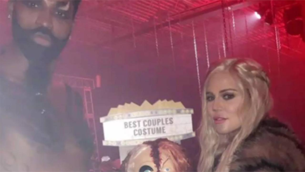 Khloe Kardashian and Tristan Thompson pose in Halloween costumes