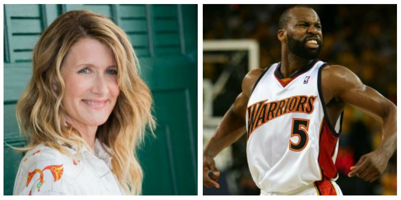 A composite image of actress Laura Dern and former NBA player Baron Davis