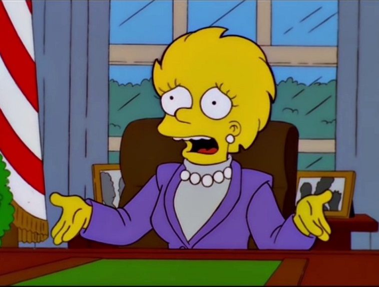 Lisa Simpson as the president in an episode on The Simpsons