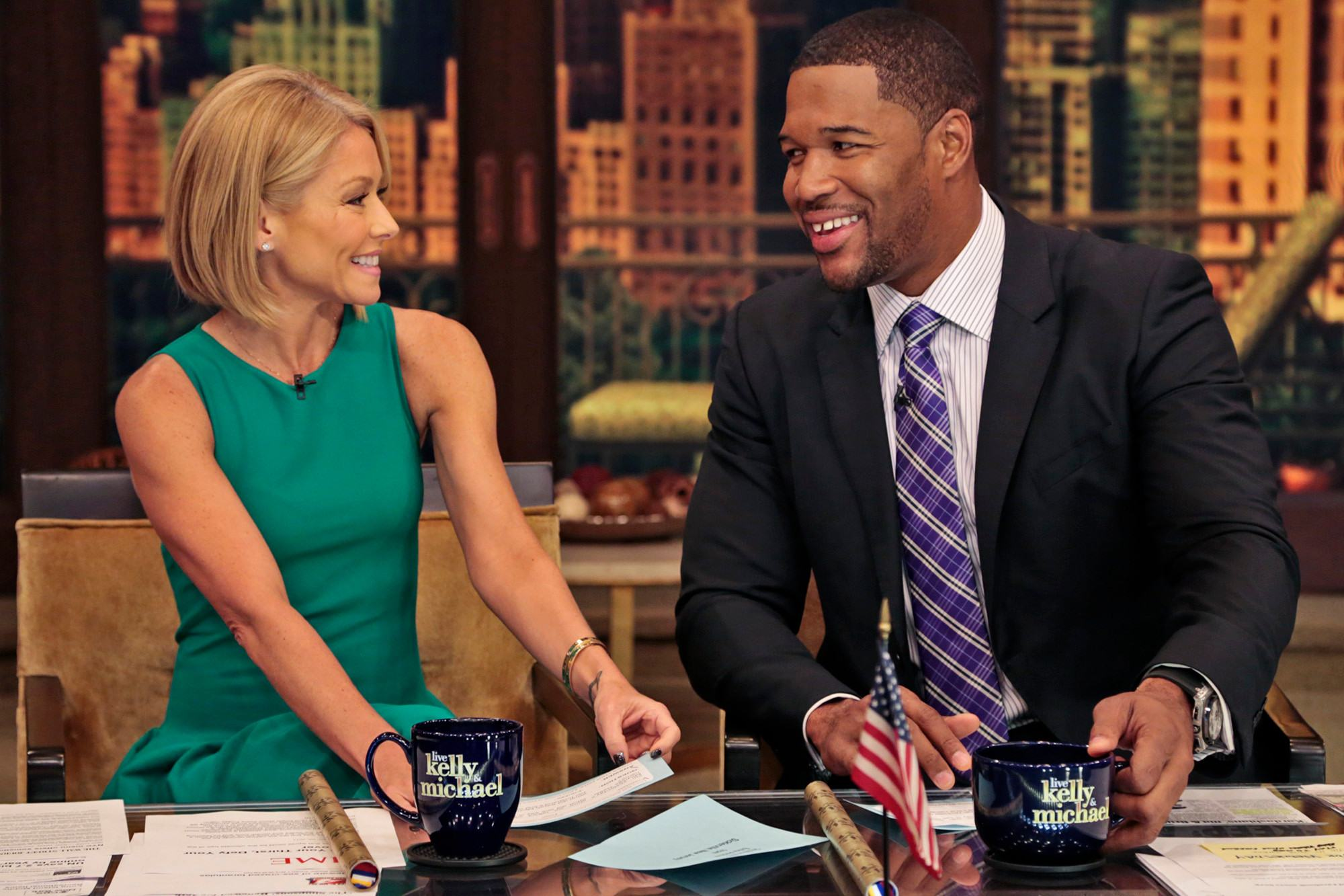 Kelly Ripa and Michael Strahan on Live with Kelly and Michael
