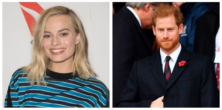 A composite image of Margot Robbie and Prince Harry