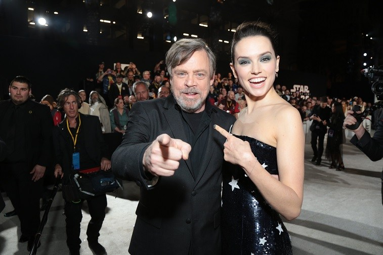 Mark Hamill and Daisy Ridley arrive on the red carpet for the world premiere of Lucasfilm's Star Wars: The Last Jedi at the Shrine Auditorium in Los Angeles, December 9, 2017.