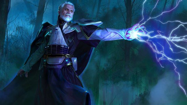 Artists rendition of Darth Vitiate shooting lightning bolts out of his hands.