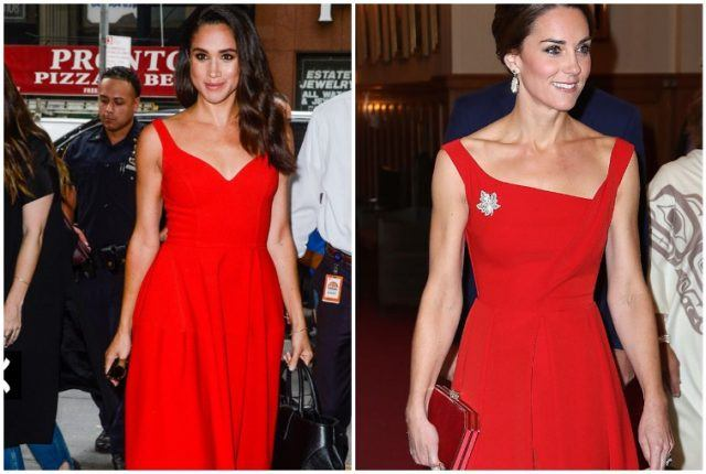Collage featuring Meghan Markle and Kate Middleton's red dresses.