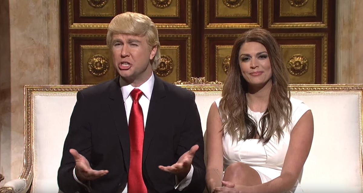 Taran Killam as Donald Trump and Cecily Strong as Melania Trump on SNL