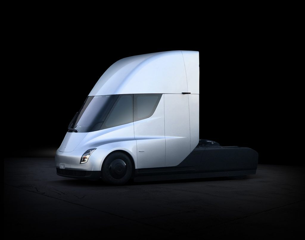 conceptual shot of a Tesla Semi Truck