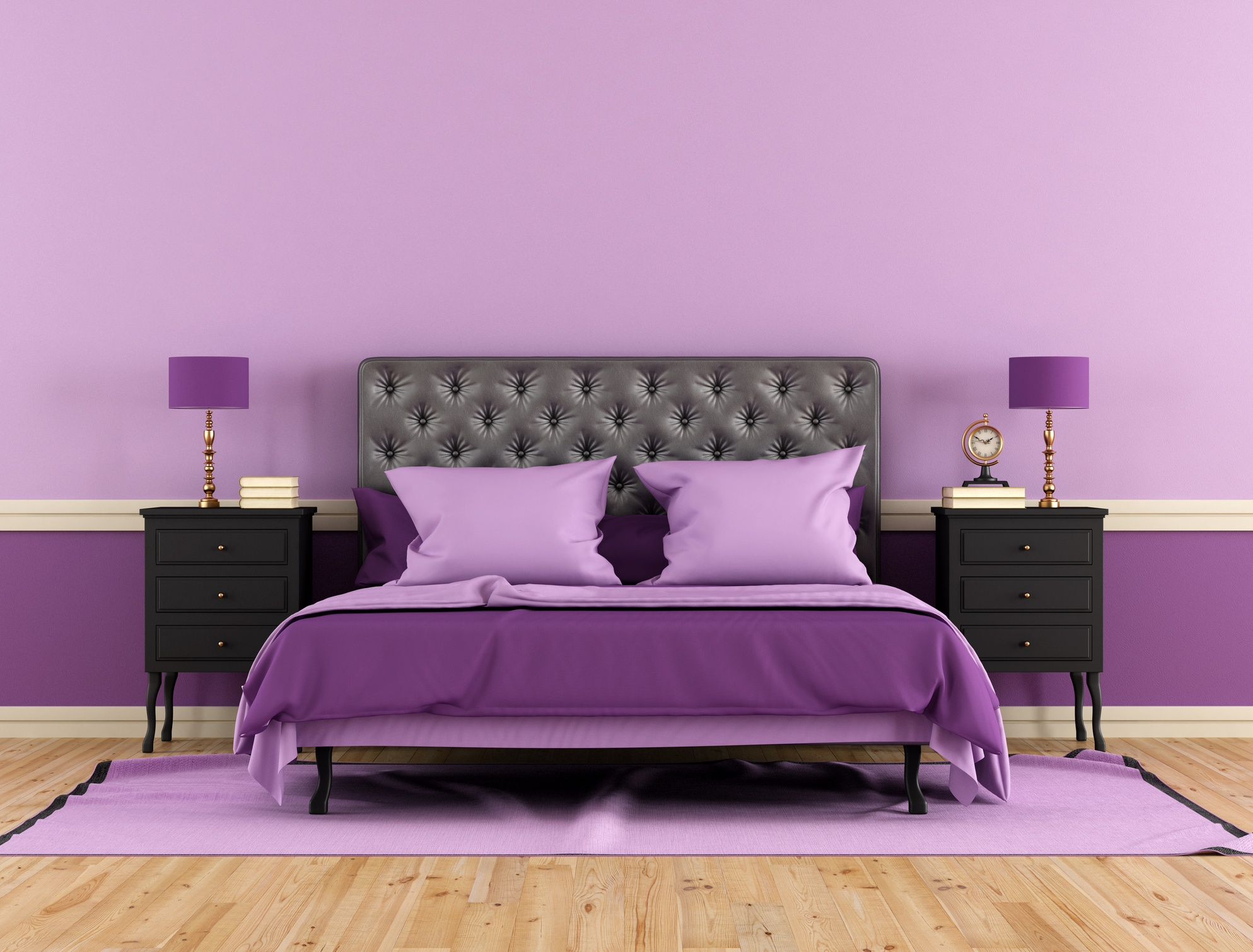 Bedroom with purple bed, walls and lamps