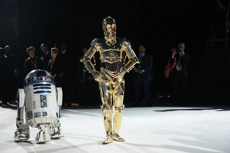 R2-D2 and C-3PO arrive on the red carpet for the world premiere of Lucasfilm's Star Wars: The Last Jedi at the Shrine Auditorium in Los Angeles, December 9, 2017.