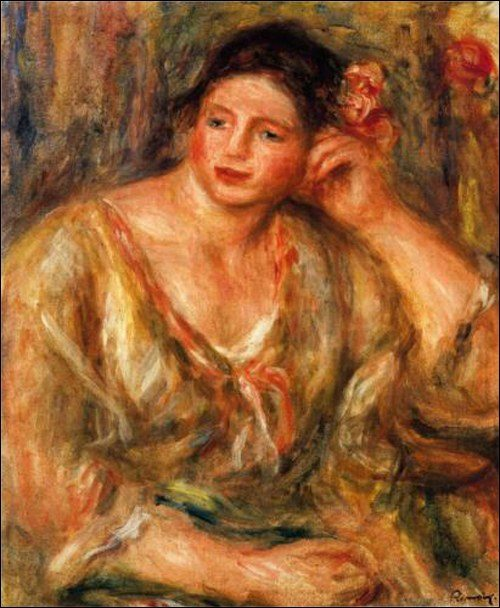 Madeleine Leaning on Her Elbow with Flowers in Her Hair by Renoir
