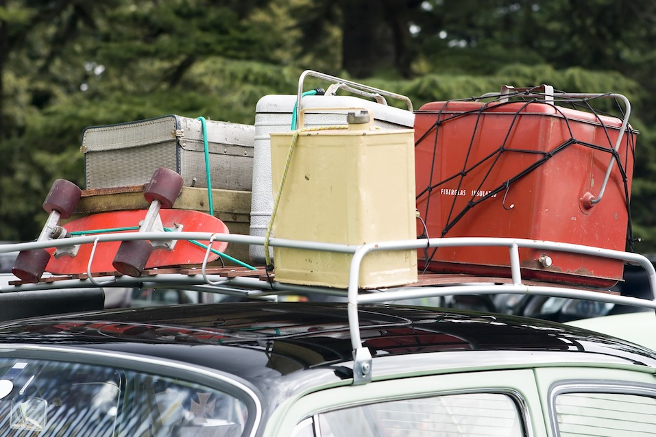 Car roof rack showing holiday items.