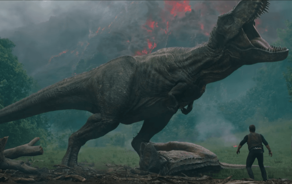 The T-Rex stands over the Carnotaurus.