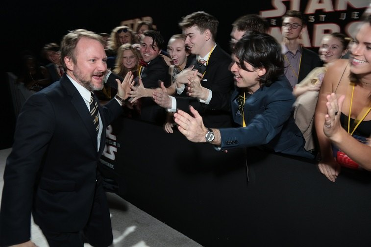 Director Rian Johnson greets fans on the red carpet for the world premiere of Lucasfilm's Star Wars: The Last Jedi at the Shrine Auditorium in Los Angeles, December 9, 2017.