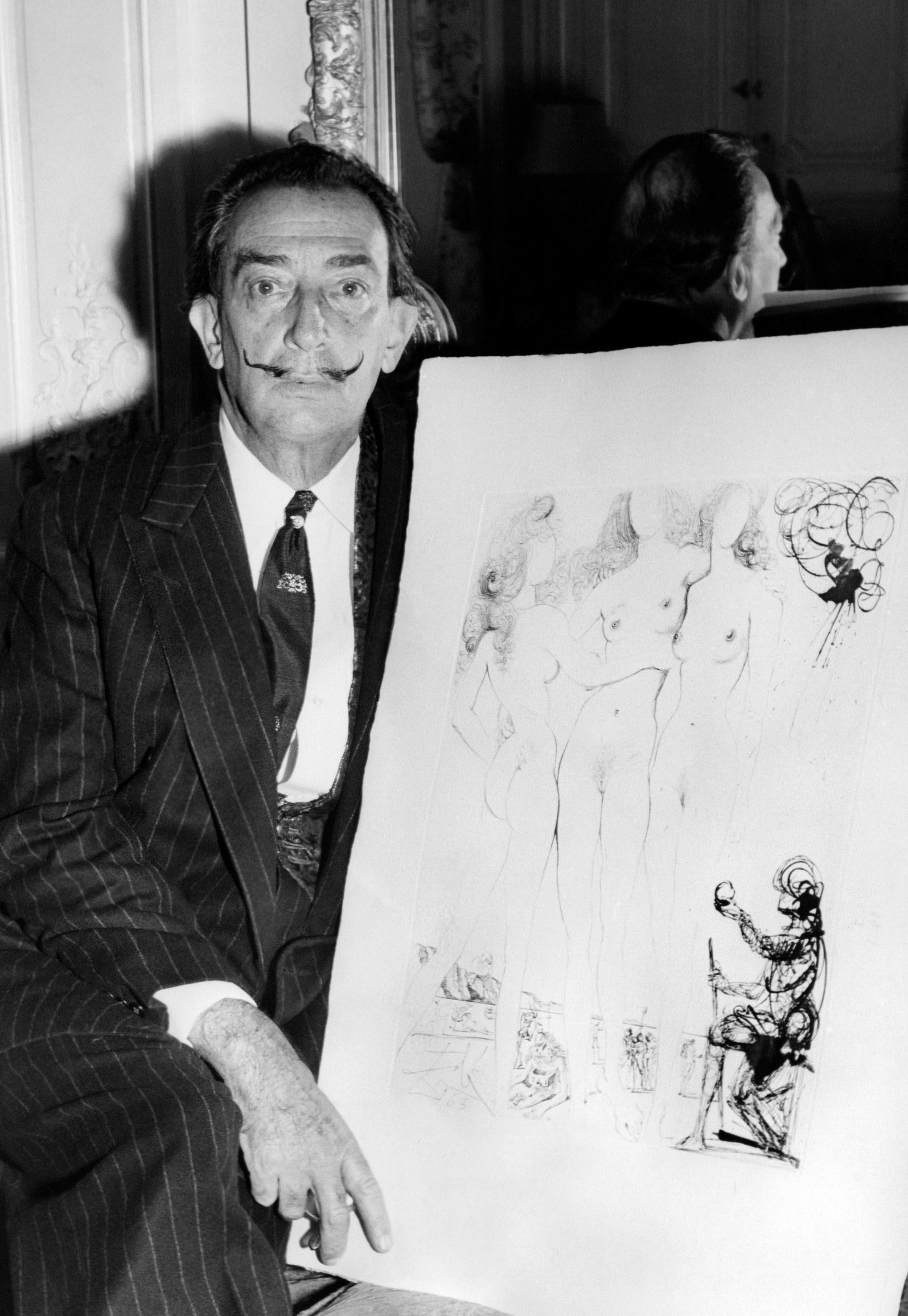 Salvador Dali with drawings