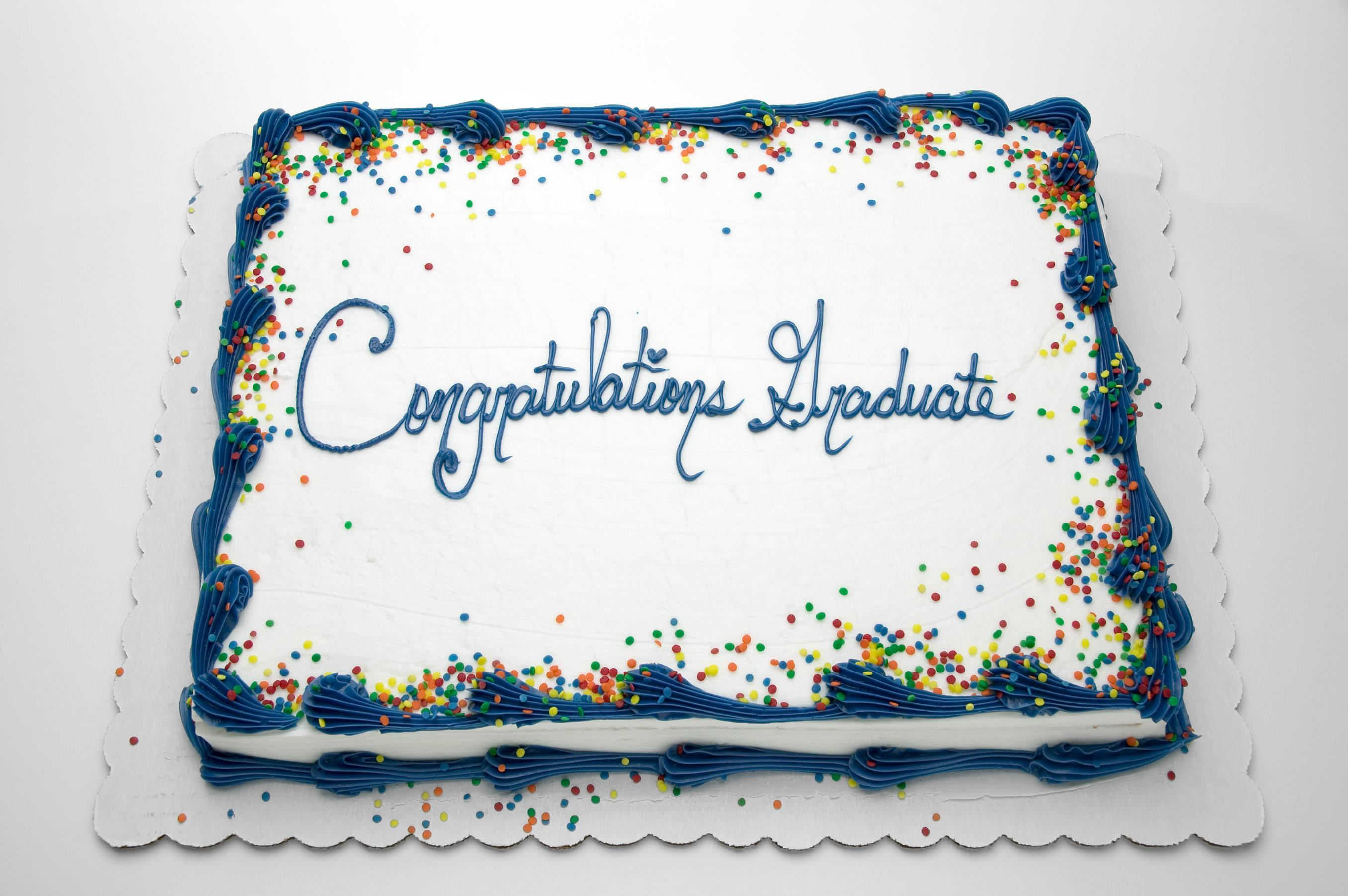 Grocery store sheet cake with words Congratulations Graduate