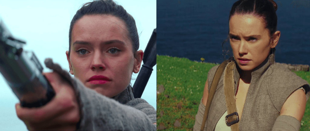 A collage of Rey in The Force Awakens and The Last Jedi