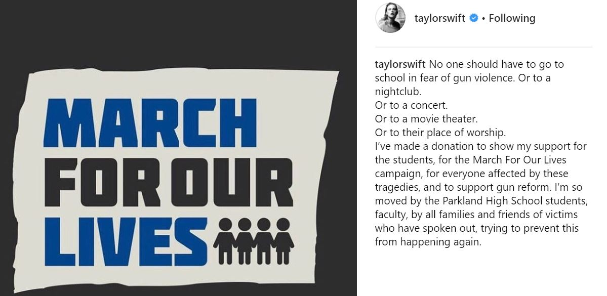 Taylor Swift Instagram post March For Our Lives
