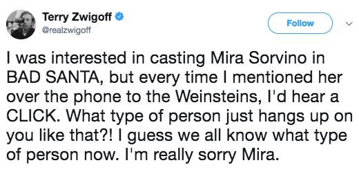 Terry Zwigoff says he was discouraged from hiring Mira Sorvino