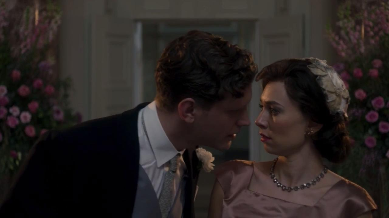 Tom Durant-Pritchard as Billy Wallace and Vanessa Kirby as Princess Margaret in The Crown