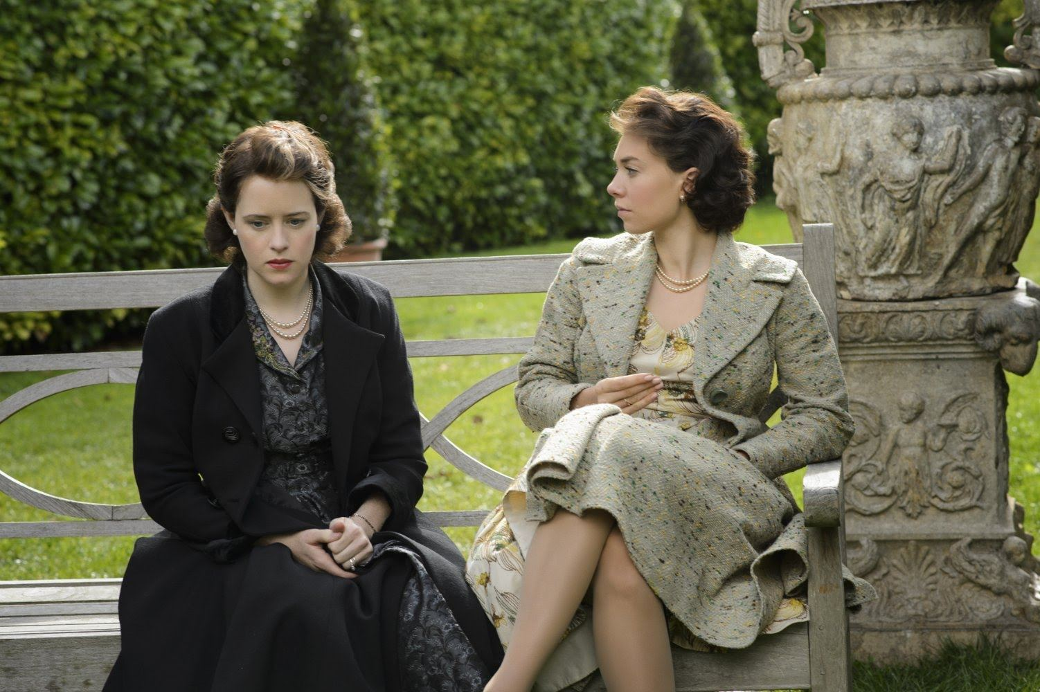Claire Foy as Princess Elizabeth and Vanessa Kirby as Princess Margaret in The Crown