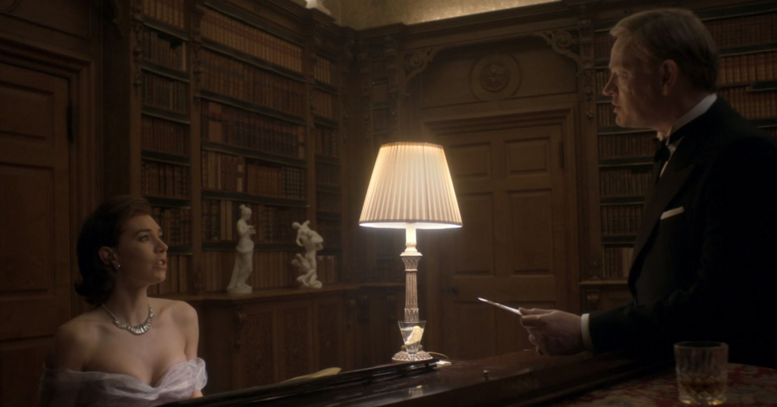 Vanessa Kirby as Princess Margaret and Jared Harris as King George VI in The Crown