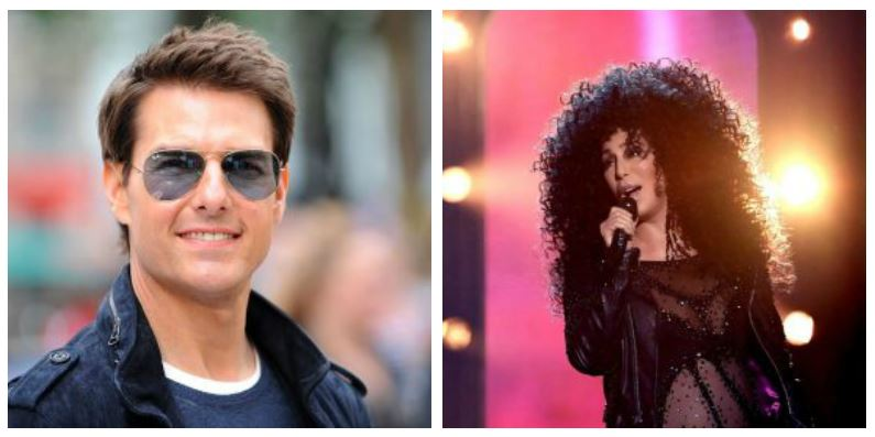 A composite image of actor Tom Cruise and singer Cher