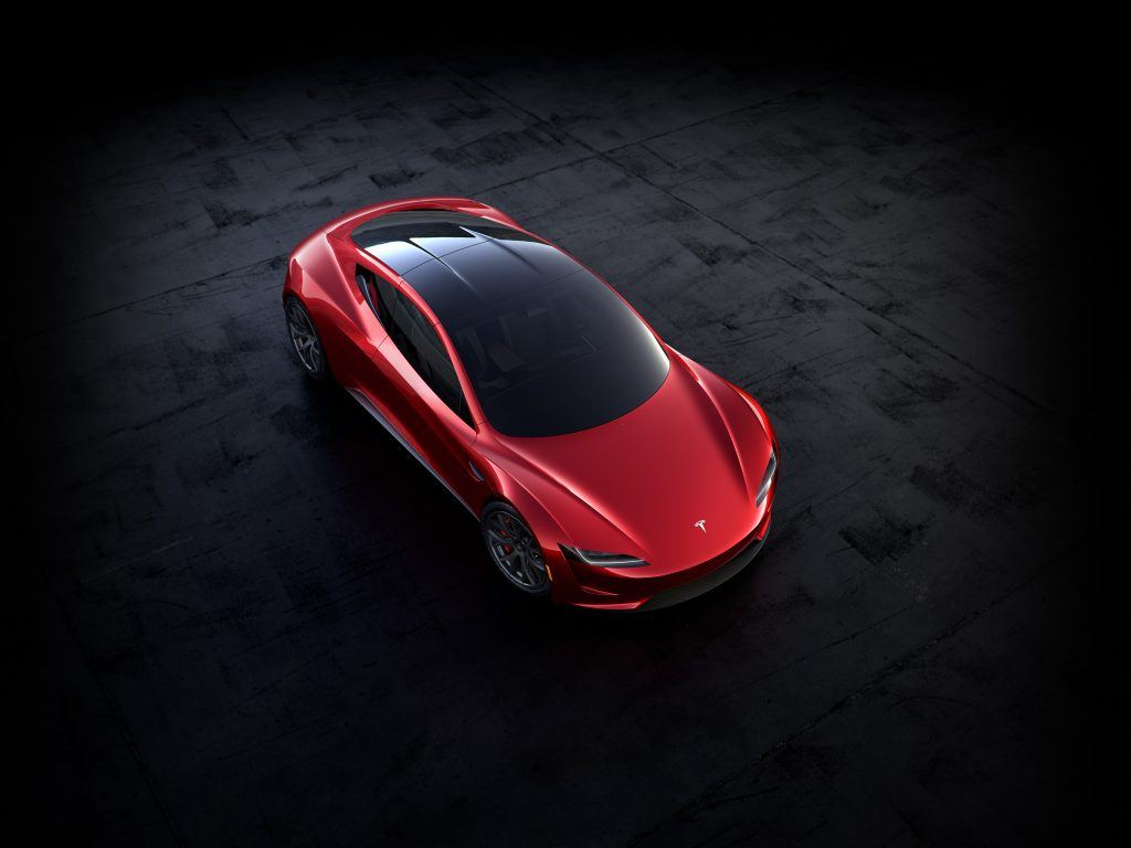 overhead view of red Tesla Roadster