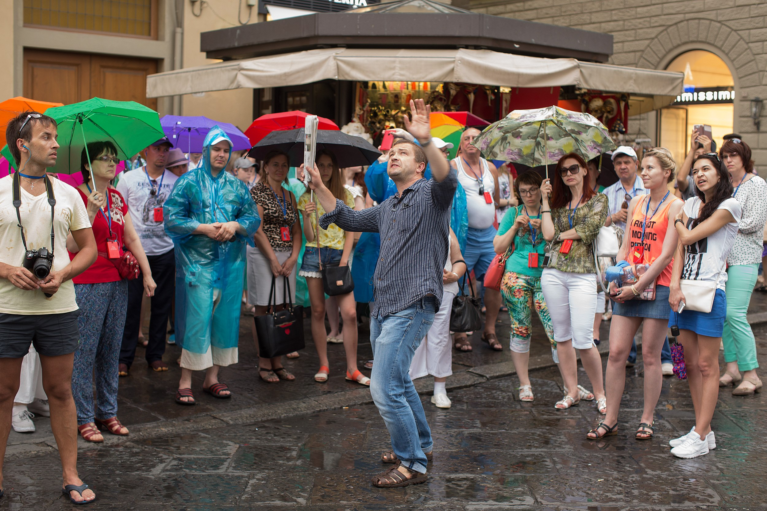 Tourist in Florence on guided tour