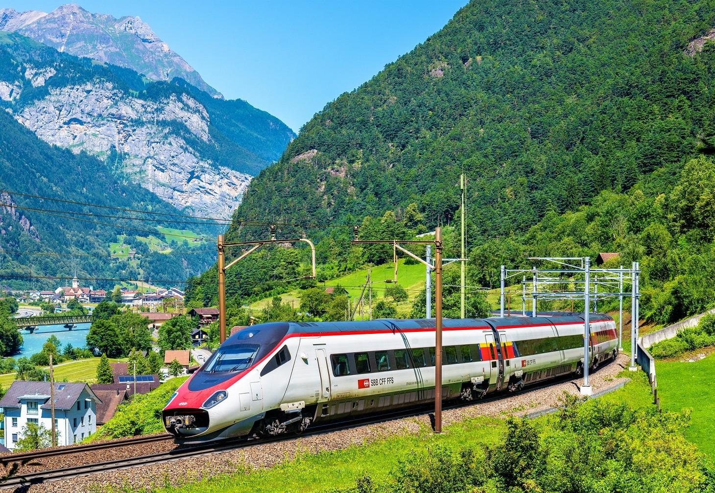 High-speed train on the Gotthard railway