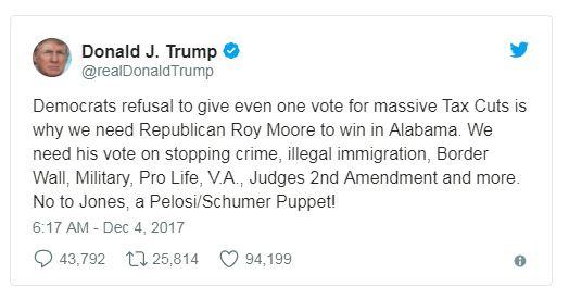 a trump tweet endorsing roy moore