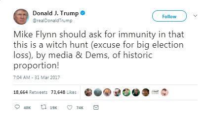 a tweet by trump about flynn