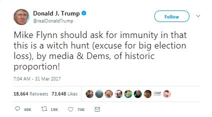 a tweet by trump about flynn